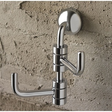 Bathroom Hook Polished Chrome Double Robe Hook 1524 Toscanaluce 1524