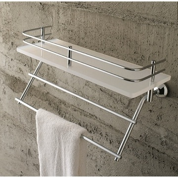 Bathroom Shelf Frosted Glass 16 Inch Bath Bathroom Shelf With Railing And Towel Bar 9038 Toscanaluce 9038