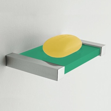 Wall Mounted Square Green Plexiglass Soap Dish
