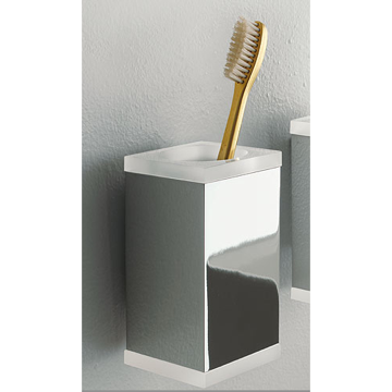 Toothbrush Holder Wall Mounted Square Brass and Plexiglass Tumbler 4502 Toscanaluce 4502