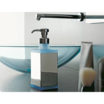 Square Brass and Plexiglass Soap Dispenser