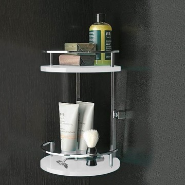 Round Plexiglass And Brass Double Corner Shower Basket