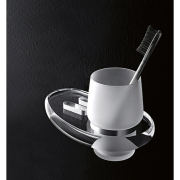 Wall Mounted Frosted Glass Tumbler with Plexiglass Holder