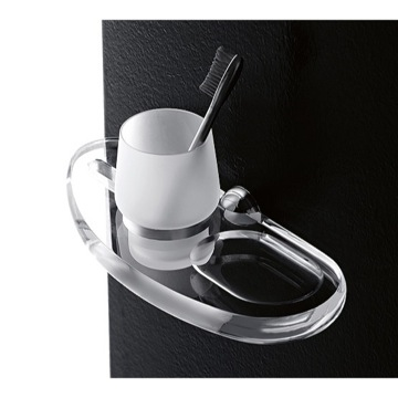 Wall Mounted Frosted Glass Tumbler with Plexiglass Holder and Soap Dish
