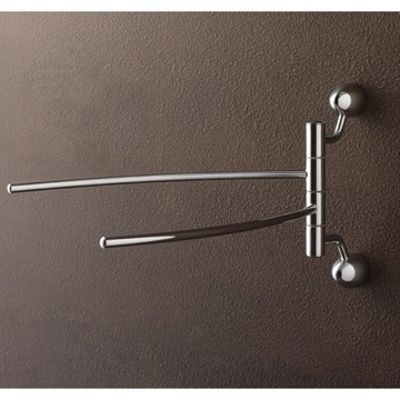 Chrome Double Swivel Towel Bar with Two Wall Mounts