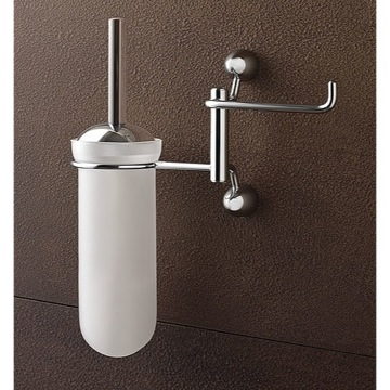 Wall Mounted Round Frosted Glass Toilet Brush Holder with Toilet Roll Holder