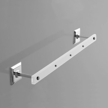 Plexiglass 18 Inch Towel Bar with Chrome Wall Mounts