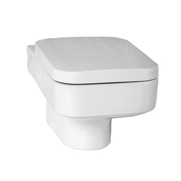 Upscale Square White Ceramic Wall-Mounted Toilet with Seat 4328-003-0075