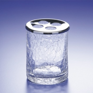 Round Crackled Glass Toothbrush Holder