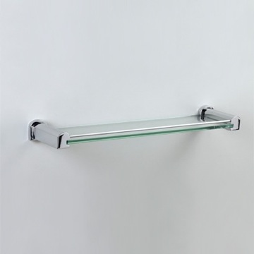 Bathroom Shelf 16 Inch Glass Bathroom Shelf in Chrome or Chrome and Gold 85144 Windisch 85144