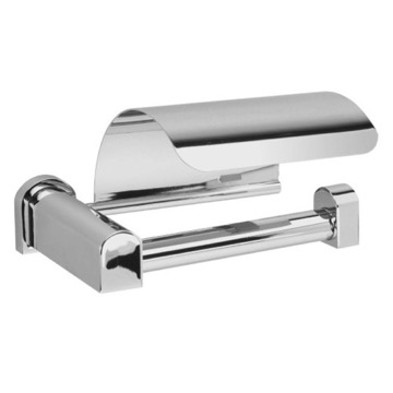 Chrome or Chrome and Gold Toilet Roll Holder with Cover