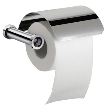 Chrome Toilet Roll Holder With Cover and Black Crystal