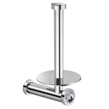 Vertical Wall Toilet Roll Holder In Chrome Finish With White Crystal