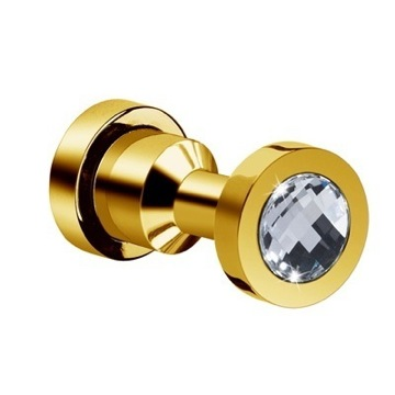 Bathroom Hook With White Crystal In Gold Finish