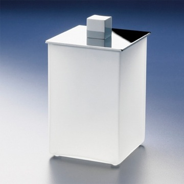 Bathroom Jar Square White Frosted Glass Cotton Ball Jar 88122M Windisch 88122M