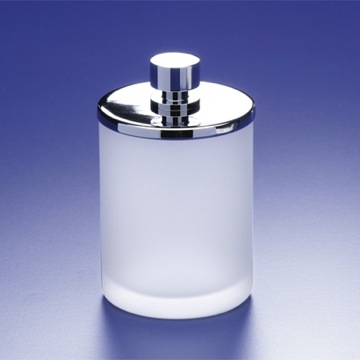 Round Frosted Glass Cotton Swab Jar