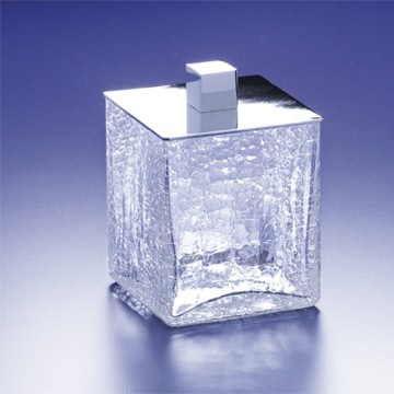 Square Crackled Glass Cotton Swab Jar