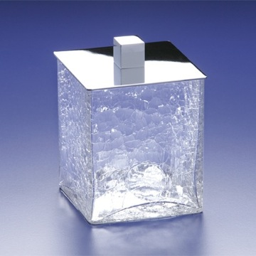 Square Crackled Crystal Glass Cotton Ball Jar