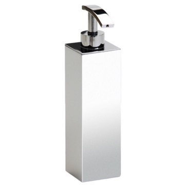Tall Squared Chrome, Gold or Satin Nickel Bathroom Soap Dispenser