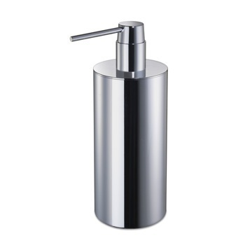 Round Chrome or Gold Tall Countertop Soap Dispenser