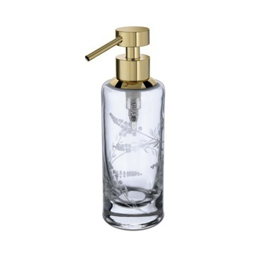 Round Decorated Crystal Glass Soap Dispenser