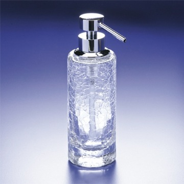 Rounded Tall Crackled Crystal Glass Soap Dispenser