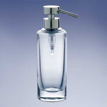 Rounded Tall Plain Crystal Glass Soap Dispenser