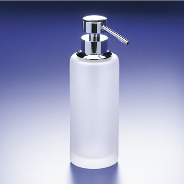 Rounded Tall Frosted Crystal Glass Soap Dispenser