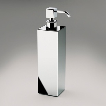 Tall Squared Brass Countertop Soap Dispenser