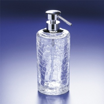 Rounded Crackled Crystal Glass Soap Dispenser
