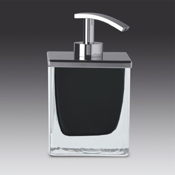 Square Black or White Crystal Glass Soap Dispenser with Chrome Pump