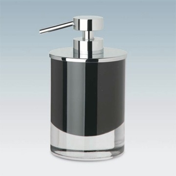 Round Black or White Crystal Glass Soap Dispenser with Chrome Pump