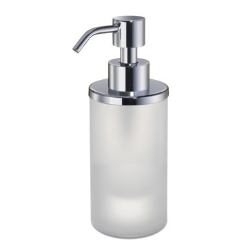 Round Frosted Crystal Glass Soap Dispenser