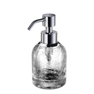 Soap Dispenser Small Round Crackled Crystal Glass Soap Dispenser 90465 Windisch 90465