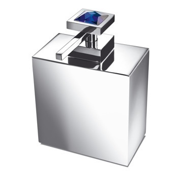Square Brass Soap Dispenser with Blue Strass Swarovski Crystal on Top