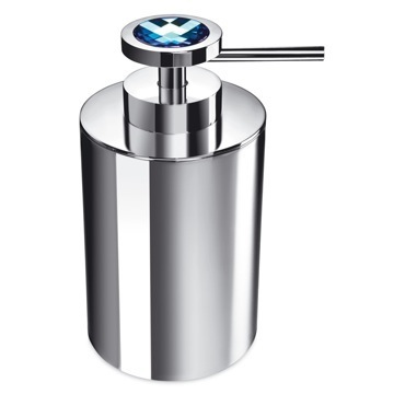 Round Brass Soap Dispenser with Blue Strass Swarovski Crystal