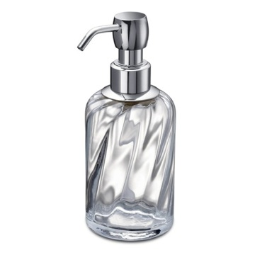 Chrome Brass and Twisted Glass Soap Dispenser