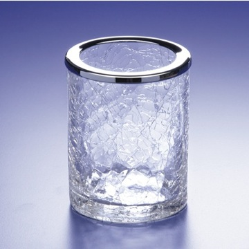 Crackled Crystal Glass Toothbrush Holder