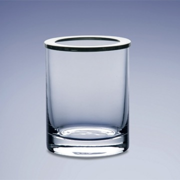 Round Clear Crystal Glass Toothbrush Holder