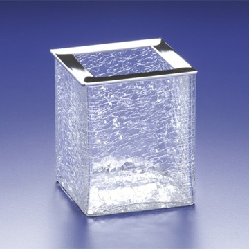 Square Crackled Crystal Glass Toothbrush Holder