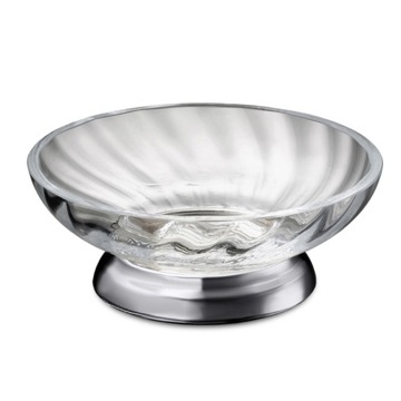 Twisted Glass Soap Dish With Chrome Base