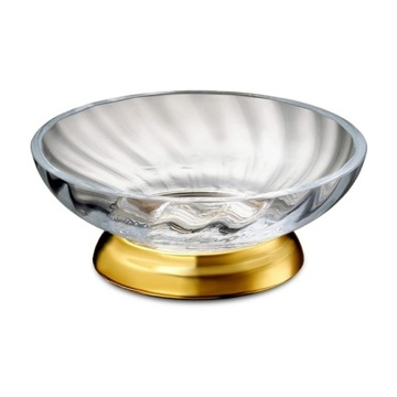 Gold Finished Twisted Glass Soap Dish