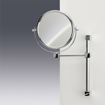Wall Mounted Double Face 3x, 5x, or 7x Brass Magnifying Mirror