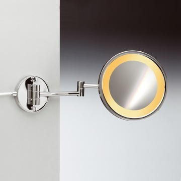 Makeup Mirror Wall Mount One Face Hardwired Lighted 3x or 5x Brass Magnifying Mirror 99153/2/D Windisch 99153/2/D
