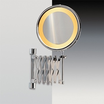 Makeup Mirror Wall Mounted Lighted 3x Brass Magnifying Mirror With Chrome and Gold Finish 99158D Windisch 99158D