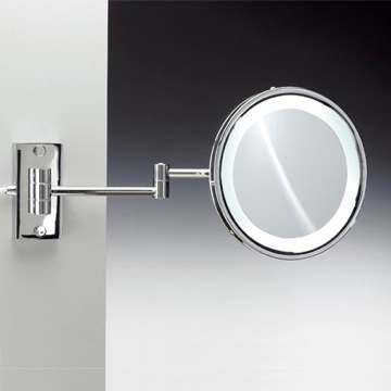 Makeup Mirror Wall Mounted Round Lighted Hardwired Brass 3x or 5x Magnifying Mirror 99187D Windisch 99187D