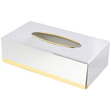 Tissue Box Cover, Contemporary, Chrome and Gold, Brass, Windisch Botique, Windisch 87100D