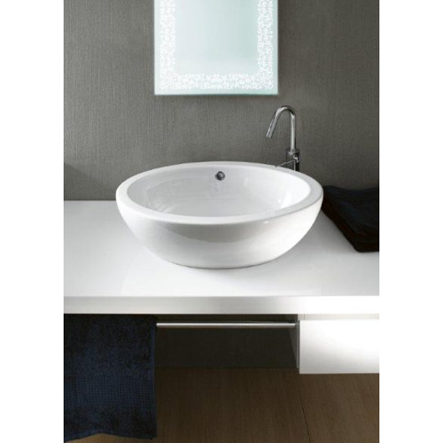 Oval-Shaped White Ceramic Vessel Bathroom Sink