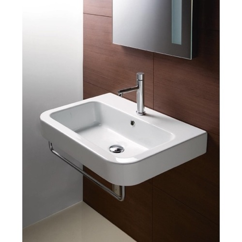 Curved Rectangular White Ceramic Wall Mounted Bathroom Sink
