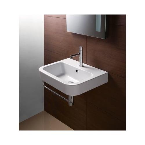 Curved Rectangular White Ceramic Wall Mounted Bathroom Sink